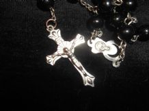 ELEGANT BLACK BEAD NECKLACE + SILVER TONE CRUCIFIX & MARY JESUS MEDALLION DROP
